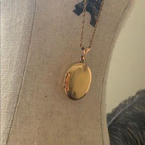 Gold bar vintage locket oval necklace